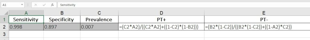 Figure 1 - Bayes' formula with Microsoft Excel