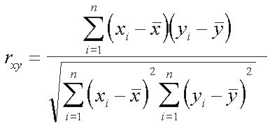 Pearson correlation coefficient Formula